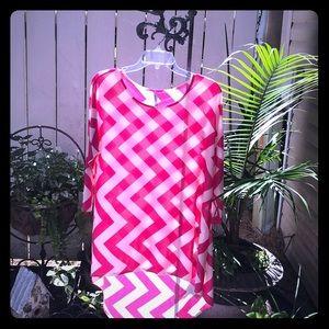 Hot Pink Chevron Boutique Tunic